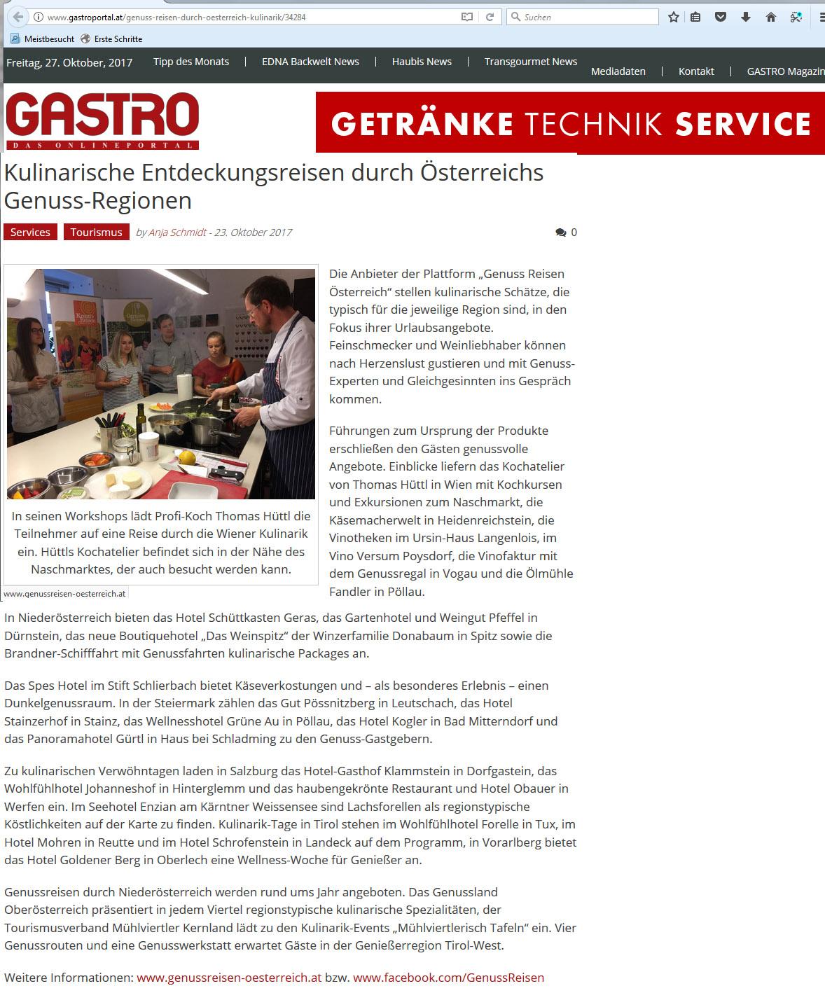 GASTRO Online-Portal berichtet über kulinarische Entdeckungsreisen ...