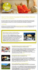 Genuss Reisen Newsletter Muster